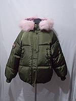 Куртка женская зеленая с мехом демисезон ростовка (M-XXL)