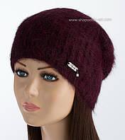 Зимняя шапка из ангоры Ребекка цвет бургунди