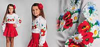 """Детская вышиванка для девочки  """"маки с  ромашками"""""""