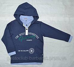 Дитяча бавовняна толстовка Academy для хлопчика синя р. 116-152 (QuadriFoglio, Польща)