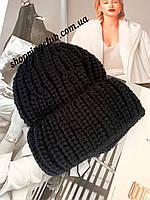 Шапка женская вязаная с отворотом черная