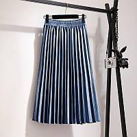 Женская плиссированная бархатная юбка плиссе синяя, фото 1