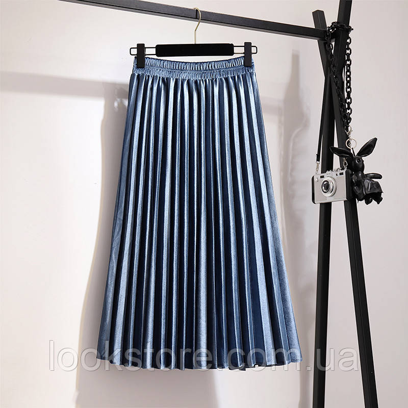 Женская плиссированная бархатная юбка плиссе синяя