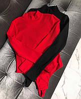 Боди женское в рубчик красное чёрное 42-44 44-46