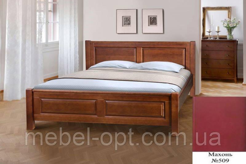 Кровать полуторная деревянная Ланита с изножьем 140х200, цвет махонь