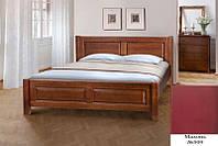 Кровать полуторная деревянная Ланита с изножьем 140х200, цвет махонь, фото 1