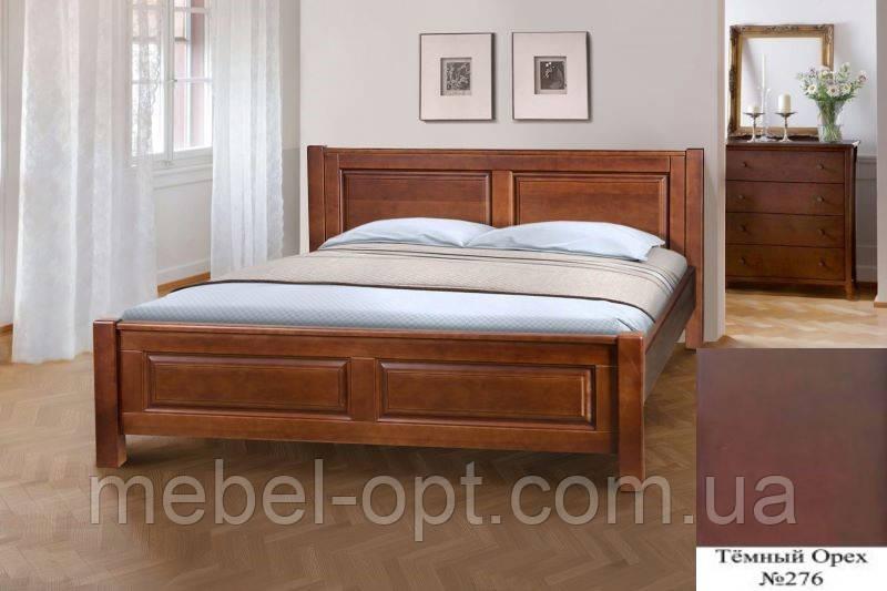 Кровать полуторная деревянная Ланита с изножьем 140х200, цвет темный орех