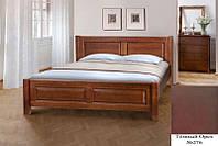Кровать полуторная деревянная Ланита с изножьем 140х200, цвет темный орех, фото 1