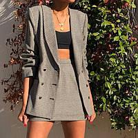 Женский костюм пиджак юбка чёрный серый 42-44 44-46