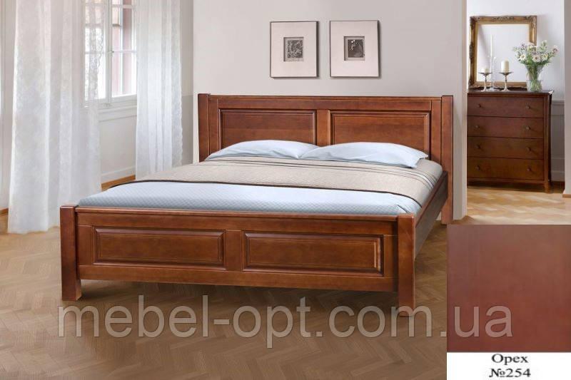 Кровать двуспальная деревянная Ланита с изножьем 160х200, цвет орех
