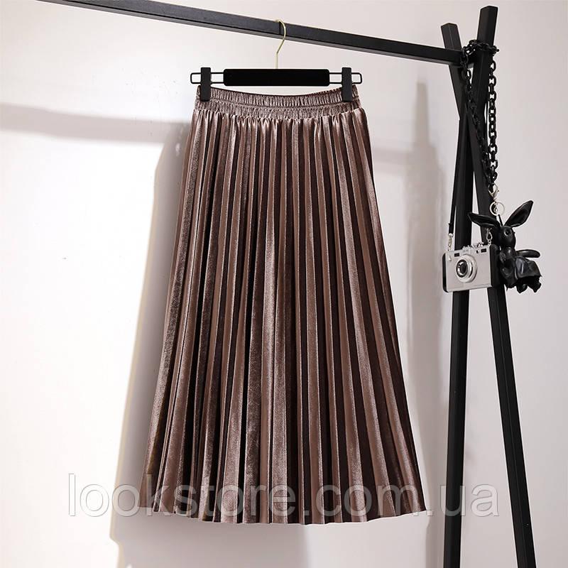 Женская плиссированная бархатная юбка плиссе кофейная