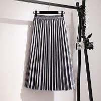 Женская плиссированная бархатная юбка плиссе серая, фото 1