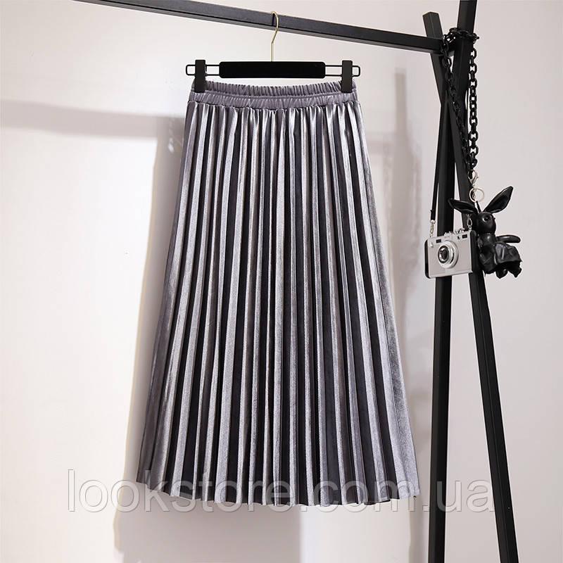 Женская плиссированная бархатная юбка плиссе серая
