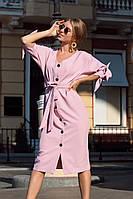 Платье женское с пуговками пудра терракот синий чёрный 42-44 44-46