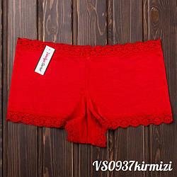 Труси шорти жіночі оптом з мереживом Vanilya Secret (Туреччина) VS0937kirmizi