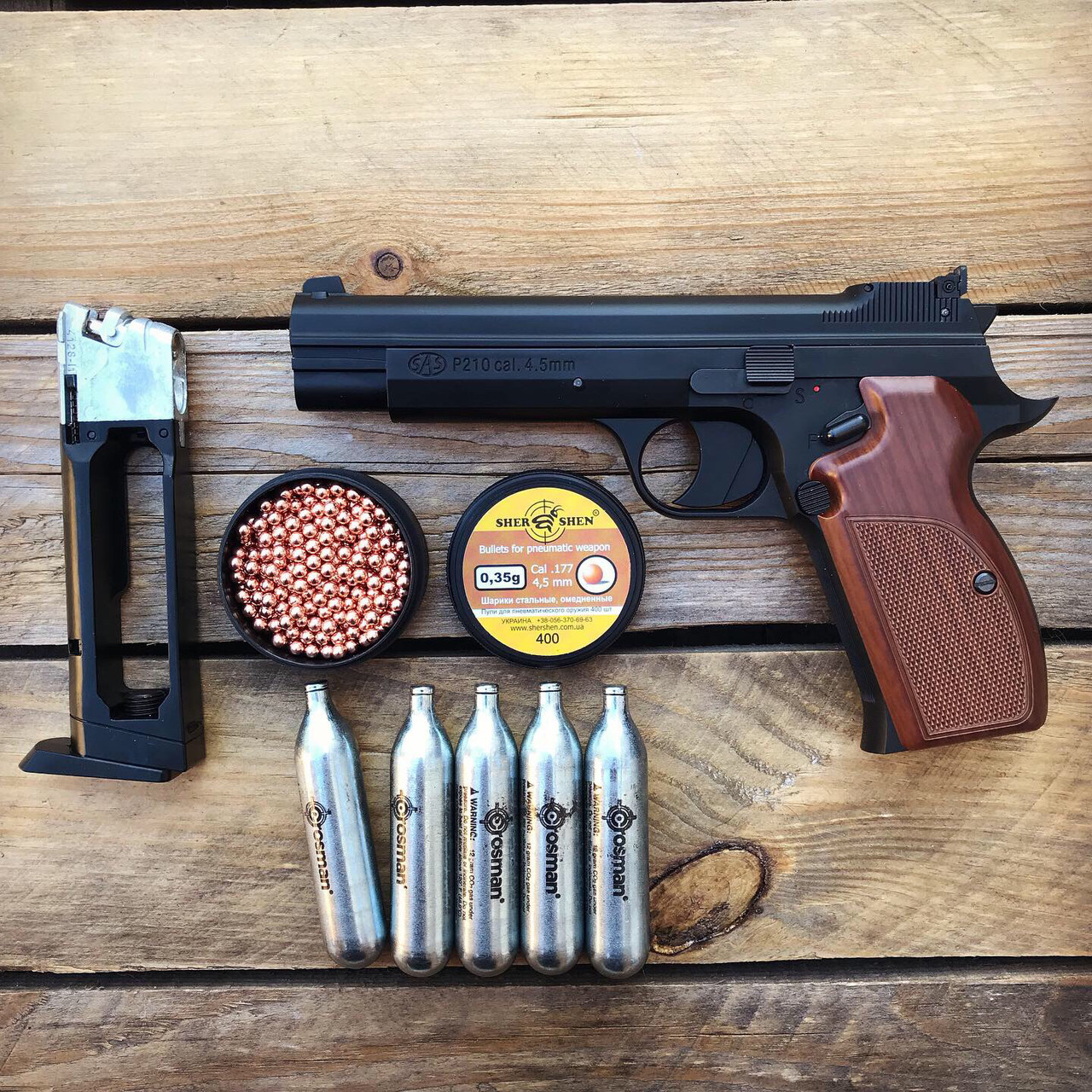 Набор пистолет пневматический SAS P 210 + баллоны + шарики BB (металл)