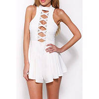 White Perfect Date Flared Playsuit