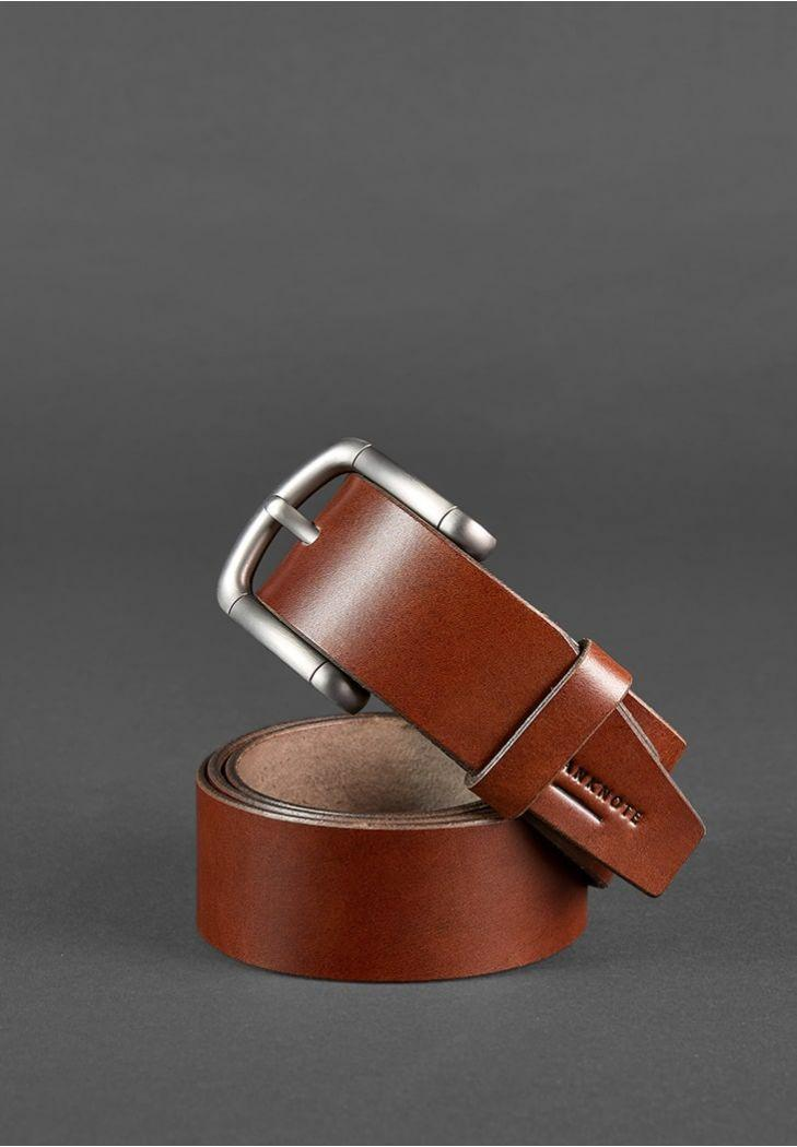 Мужской кожаный ремень шириной 40 мм. Цвет коричневый