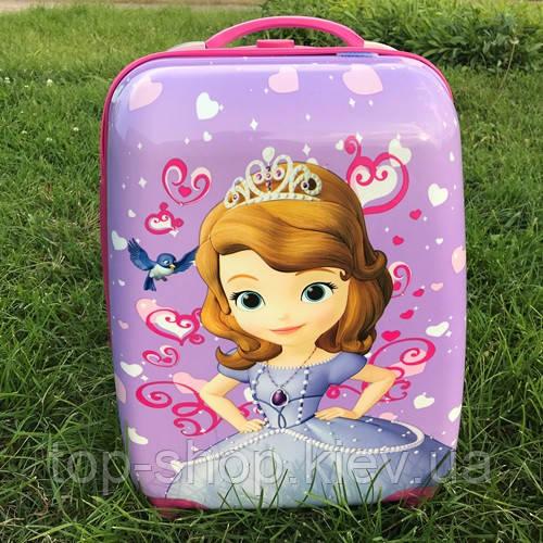 Детский чемодан на колесах для девочки Принцесса София