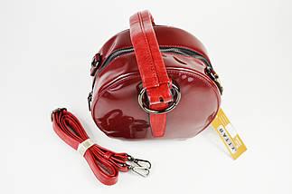 Сумка круглая лаковая красная Batty 1091, фото 3