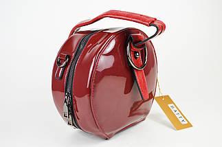 Сумка круглая лаковая красная Batty 1091, фото 2
