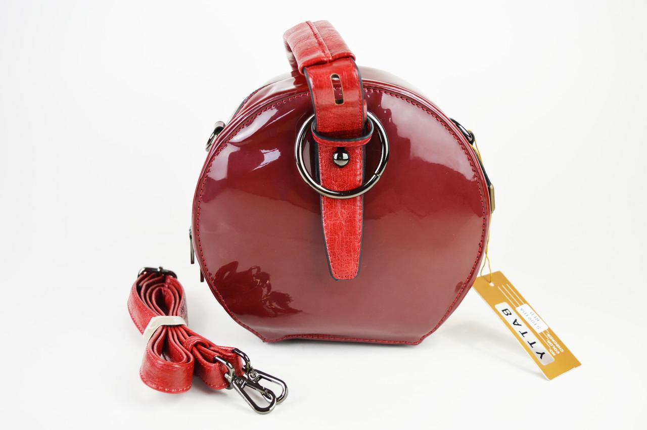 Сумка круглая лаковая красная Batty 1091