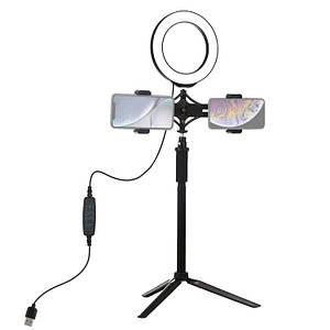 LED кольцо для блогеров Puluz 16 см. диаметр+ трипод для блогеров+ двойное крепление для телефона
