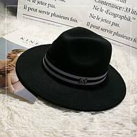 Шляпа женская фетровая Федора с лентой в стиле Maison Michel и устойчивыми полями черная