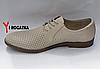 Мужские кожаные туфли Slat летние с каблуком, перфорированные, бежевые, кожаная подкладка, фото 3