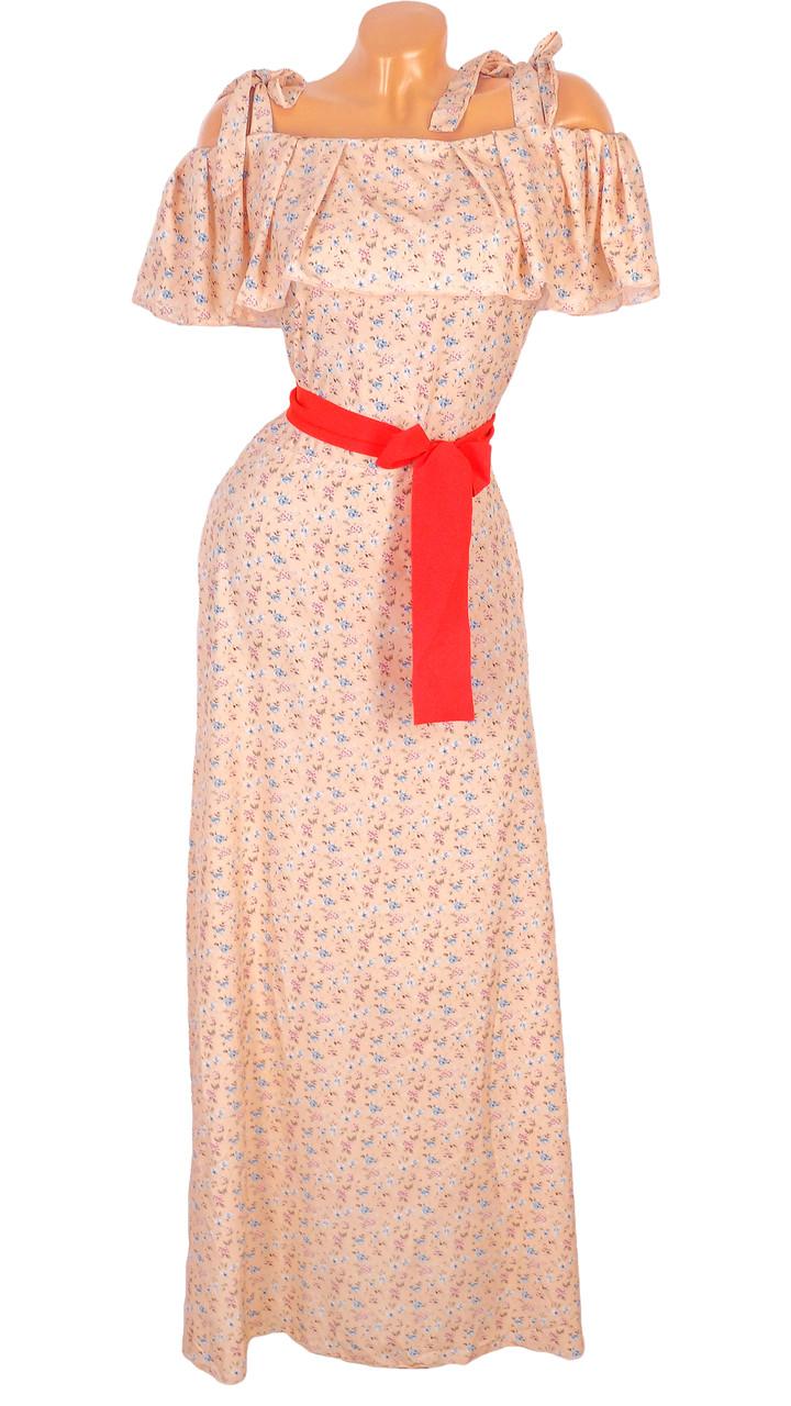 Нежное длинное платье на бретельках (46)