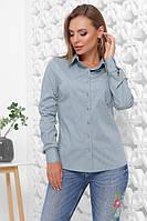 Женская классическая рубашка с длинным рукавом на пуговицах, фото 1