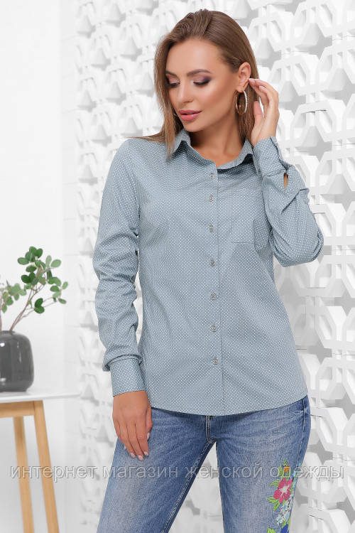 Женская классическая рубашка с длинным рукавом на пуговицах