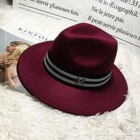 Шляпа женская фетровая Федора с лентой в стиле Maison Michel и устойчивыми полями бордовая (марсала)