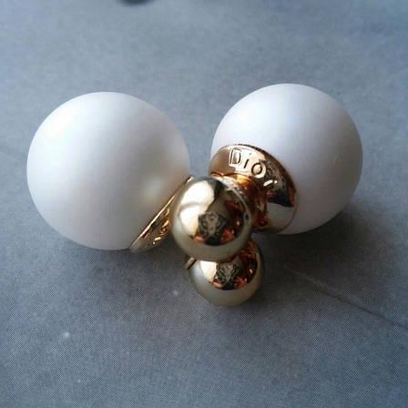 Сережки-пуссети Dior, білі матові, фото 2