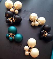 Сережки-пуссети Dior, білі матові, фото 3