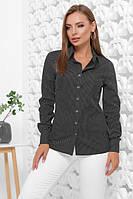 Женская классическая рубашка с длинным рукавом на пуговицах в горошек