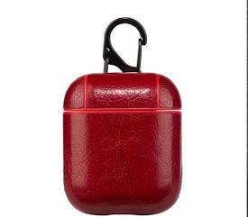 Чехол для наушников Apple AirPods - Оригинальный кожаный красный кейс футляр для наушников