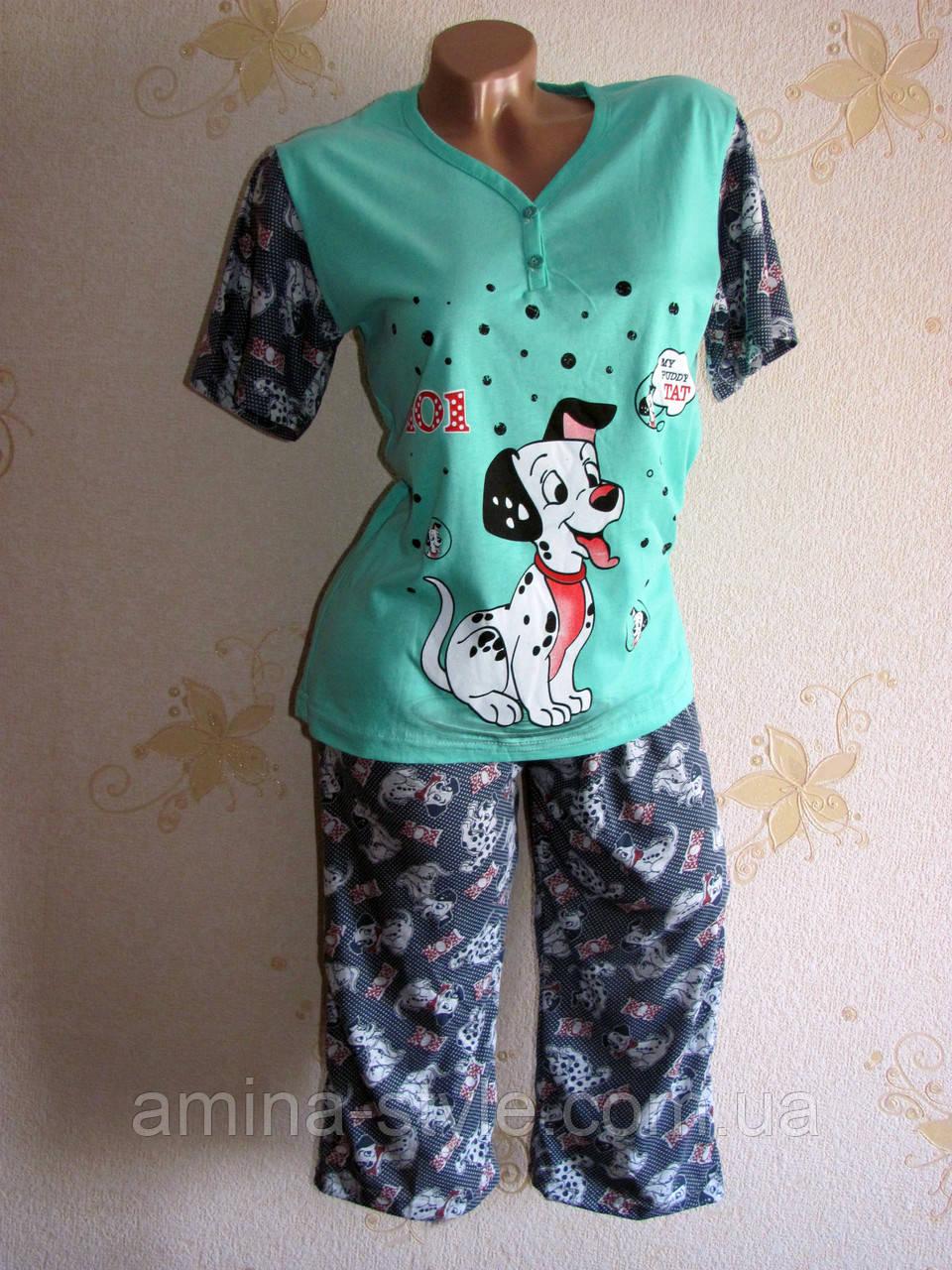 Пижама футболка и бриджи хлопок, размер L