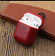 Чехол для наушников Apple AirPods - Оригинальный кожаный красный кейс футляр для наушников, фото 2