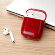 Чехол для наушников Apple AirPods - Оригинальный кожаный красный кейс футляр для наушников, фото 3