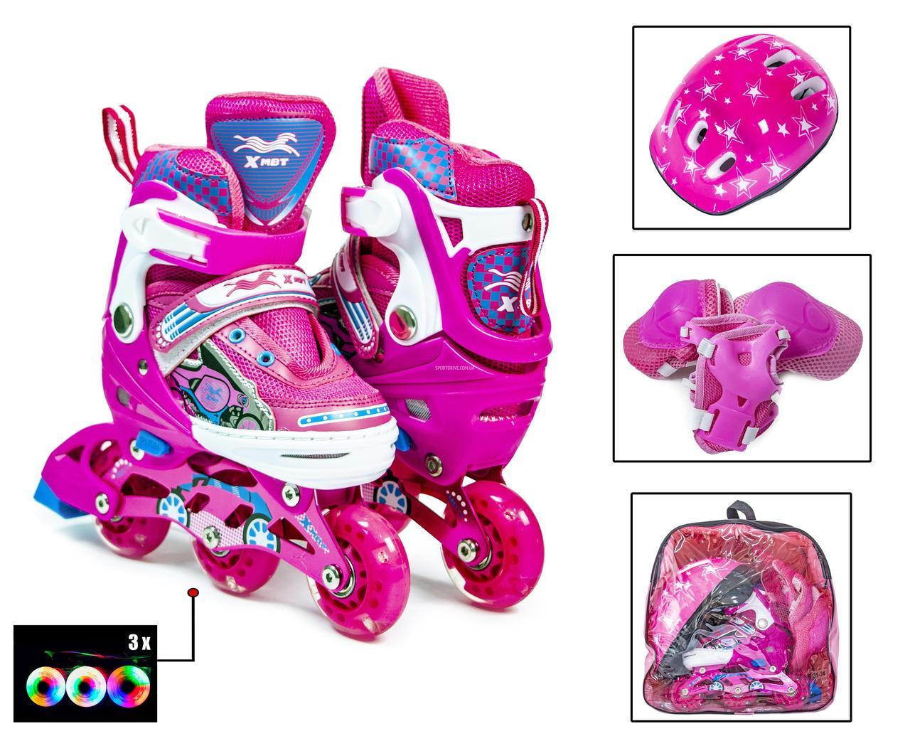 """+Подарок +Детские Ролики+Шлем+Защита """"3-wheels"""". Pink. размер 27-30. Все колеса светятся!"""