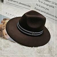 Шляпа женская фетровая Федора с лентой в стиле Maison Michel и устойчивыми полями коричневая