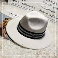 Шляпа женская фетровая Федора с лентой в стиле Maison Michel и устойчивыми полями белая