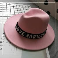 Женская фетровая шляпа Федора с устойчивыми полями и лентой Love розовая