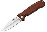 Нож складной с деревянной рукояткой, универсальный, с клипсой продуманной формы, с полированным клинком