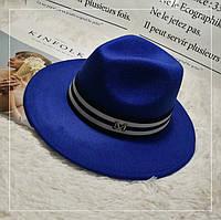 Шляпа женская фетровая Федора с лентой в стиле Maison Michel и устойчивыми полями синяя