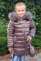 """Зимняя куртка пальто  с натуральным мехом для девочки  """"Риана"""" (128, 134,146р)"""