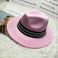 Шляпа женская фетровая Федора с лентой в стиле Maison Michel и устойчивыми полями розовая