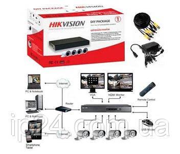 Hikvision DS-J142I/7104HGHI-F1 (4 out) rомплект видеонаблюдения для уличной установки