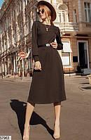 Платье демисезонное с длинным рукавом осеннее с поясом 42-44 44-46